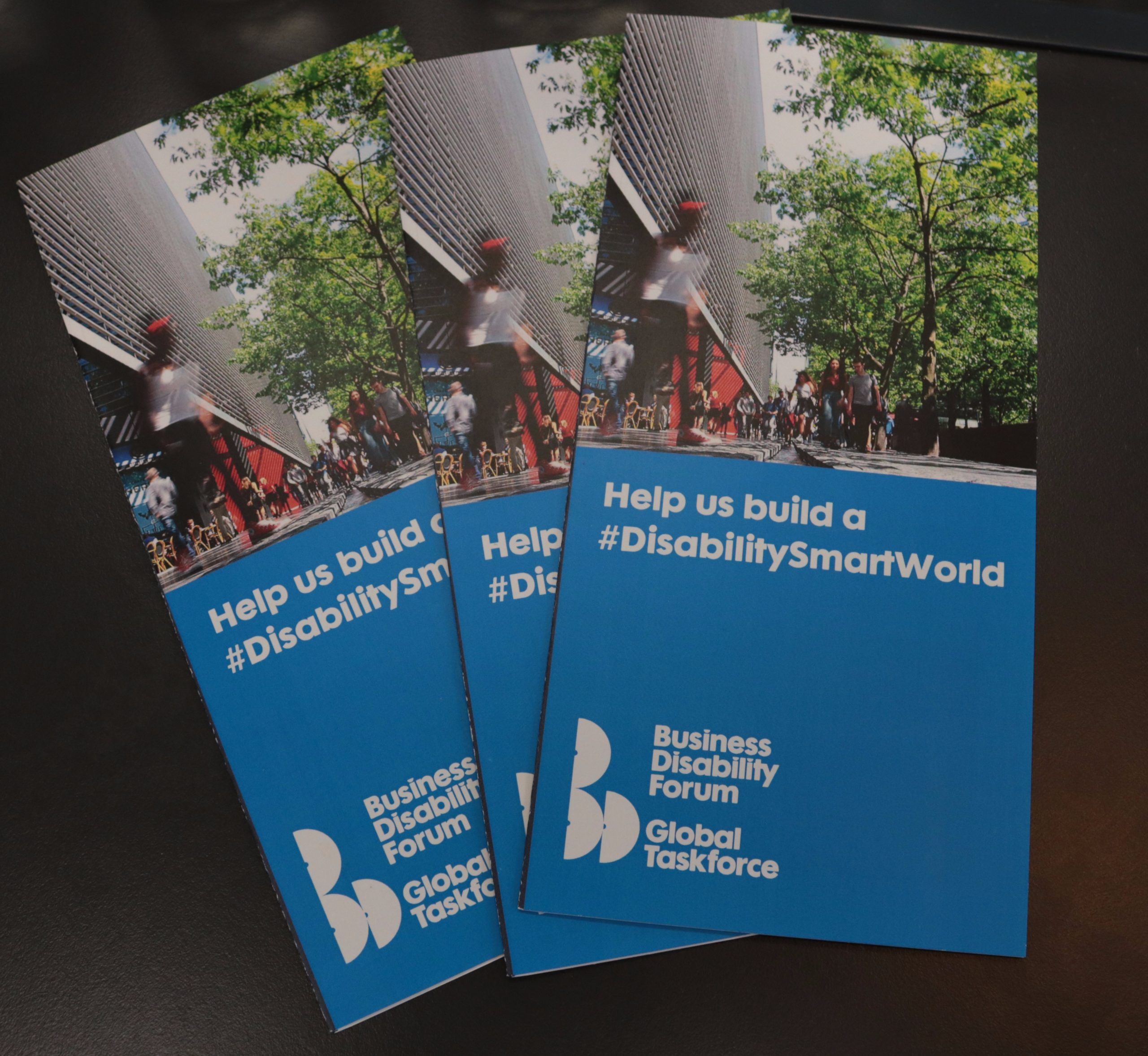 A series of Business Disability Forum Global Taskforce flyers on a table