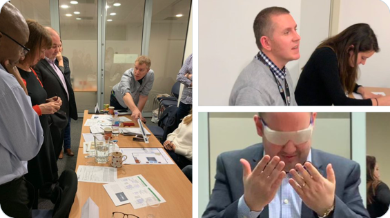 Three scenes of training provided by CAE: Left - people looking at a diagram, top right, a man talking, bottom right, a man wearing glasses