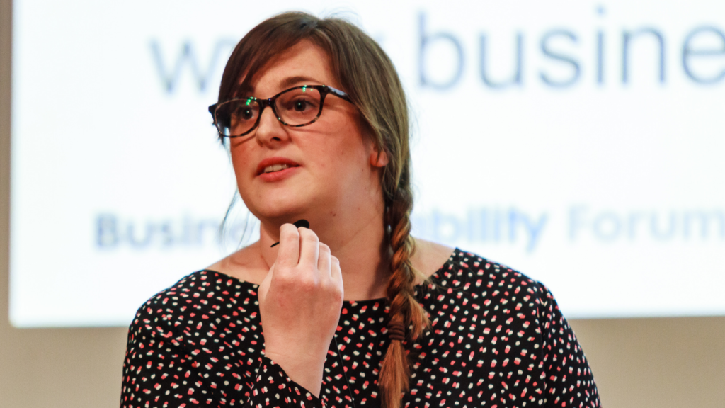 Angela Matthews, head of policy, research and advice at Business Disability Forum, looking ahead at the audience
