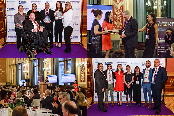 A collage of four photos: Winners and nominees from Disability-Smart Awards 2018, as well as the audience clapping