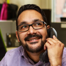 Image of our Advice Officer on the phone