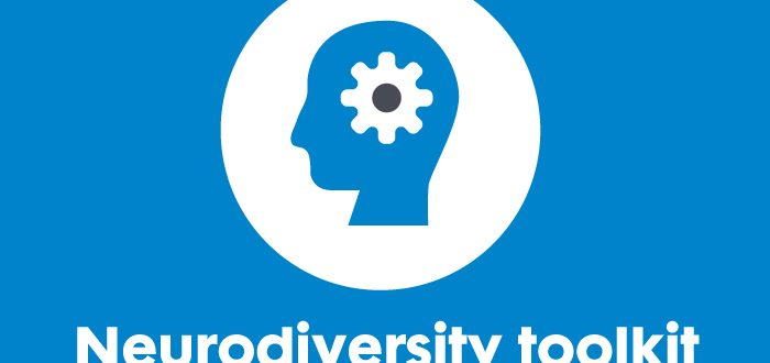 Graphic image. Bright blue background. 'Neurodiversity toolkit' is the text featured at the bottom of the image. A white circle and a blue silhouette in the middle.