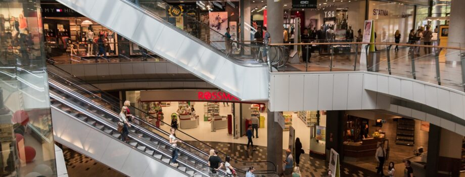 Stairs and shoppers in a mall