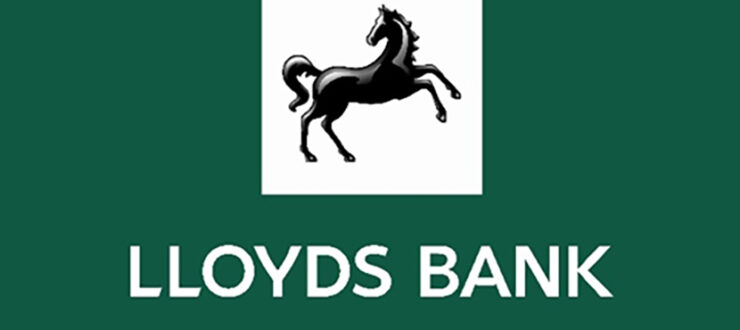 Lloyd's Banking Group logo - White text on a gren background, with a logo of a black horse on the right hand side.
