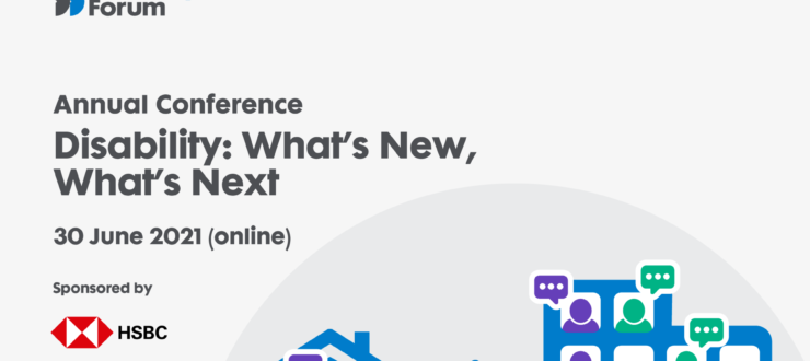 Business Disability Forum Virtual Conference Disability: What's New, What's Next, 30 June 2021 (online), Sponsored by HSBC - representation of a house and sign