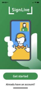 SignLive app Homescreen